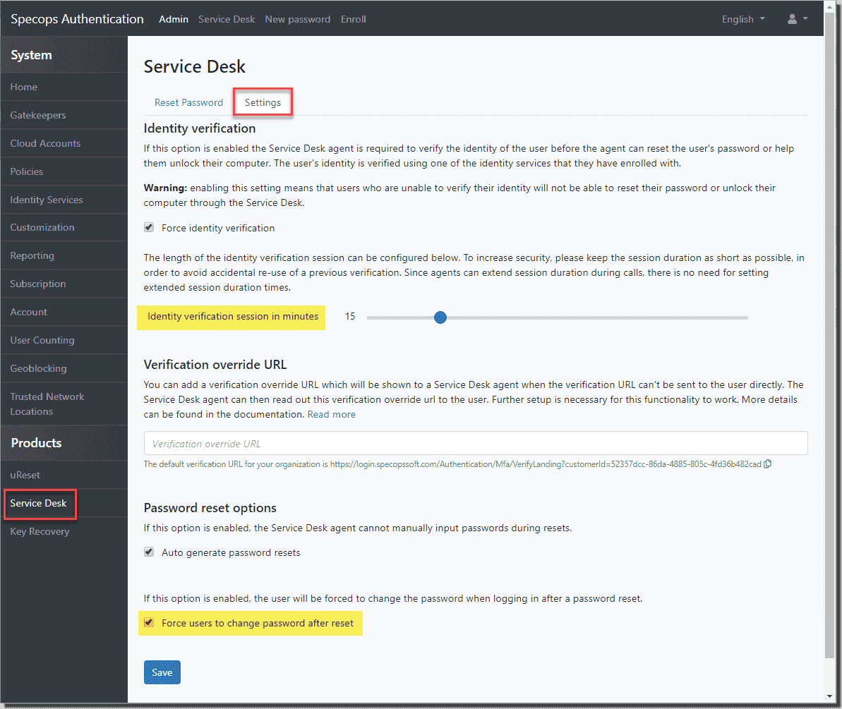 New security settings in Secure Service Desk