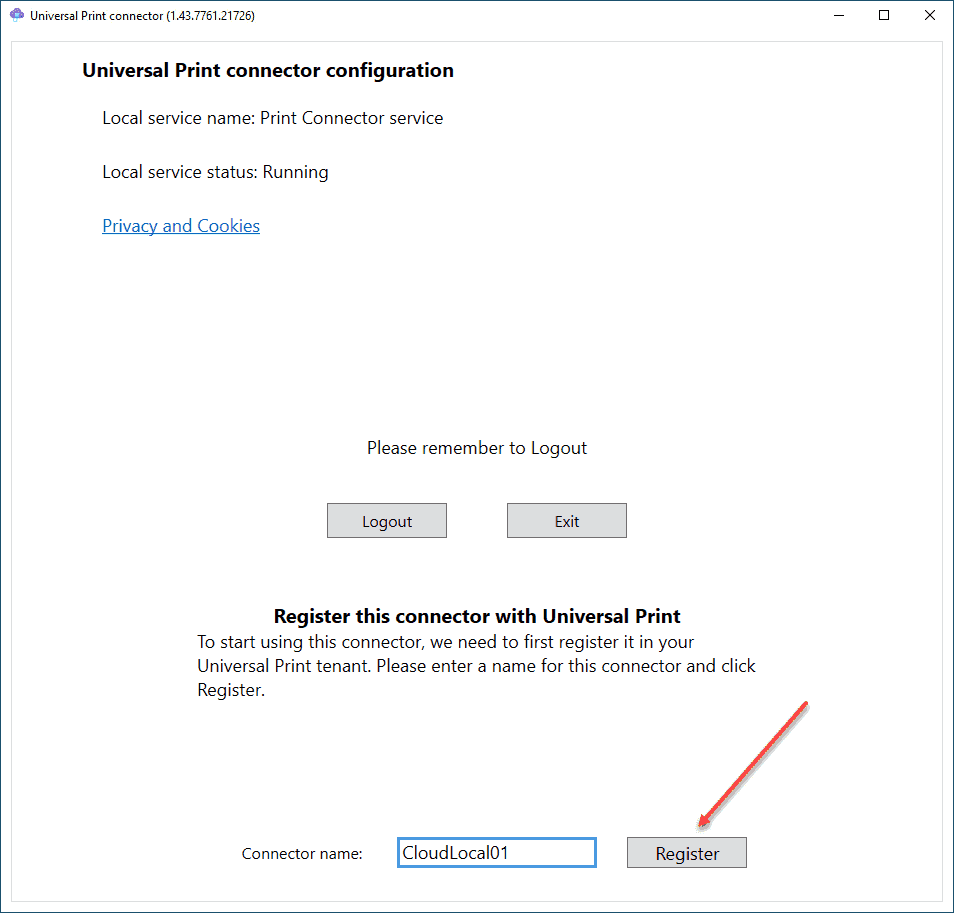 Registering your Universal Print Connector with Microsoft Azure