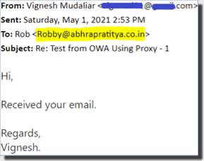 Replying to an email chain using the proxy address