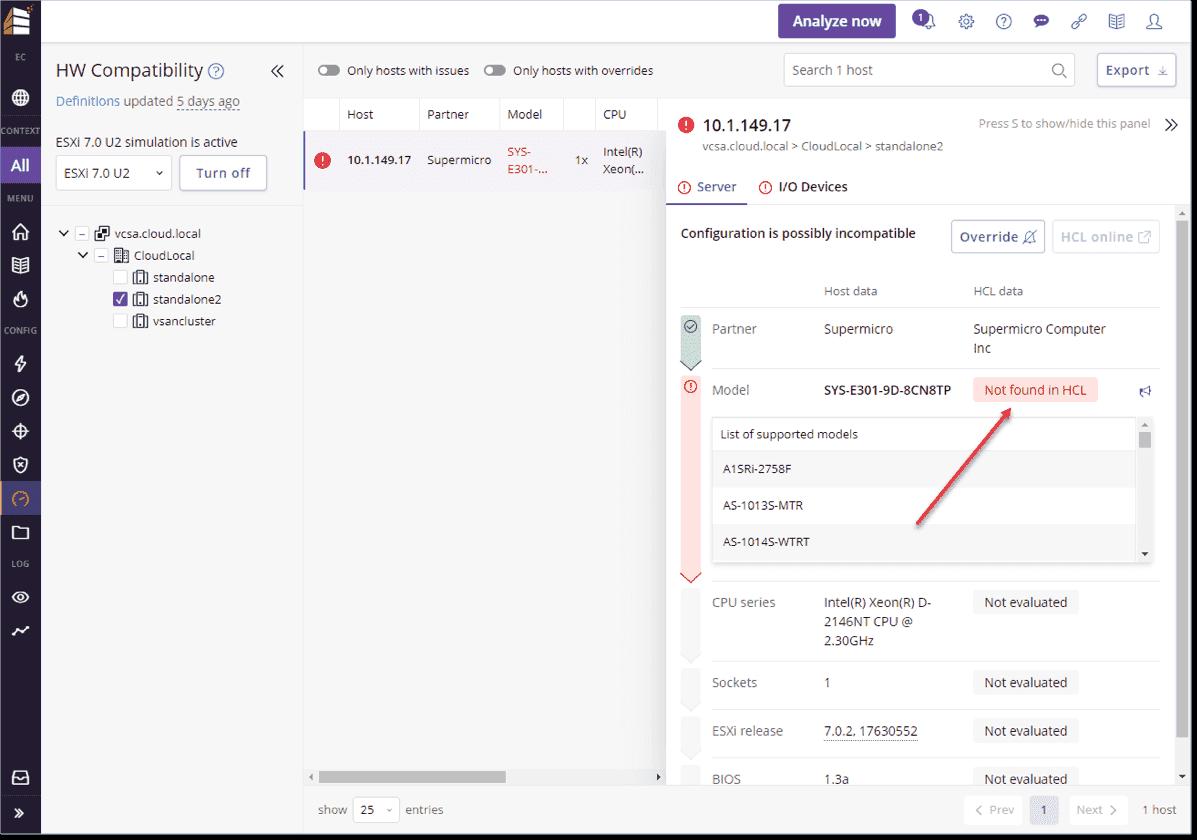 Running the upgrade simulation in Runecast Analyzer