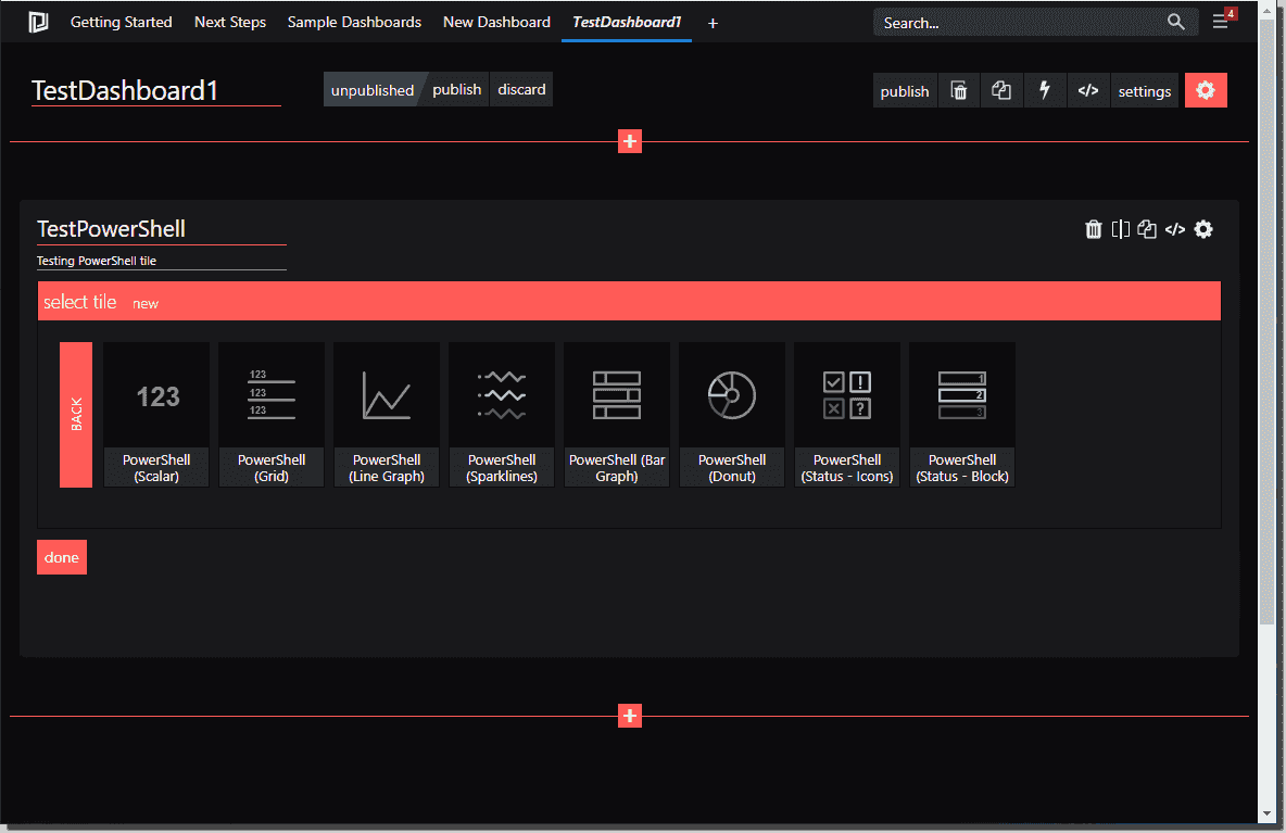 Select the type of PowerShell tile