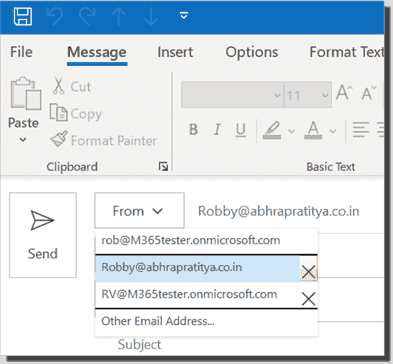 Setting the From address in Outlook desktop client