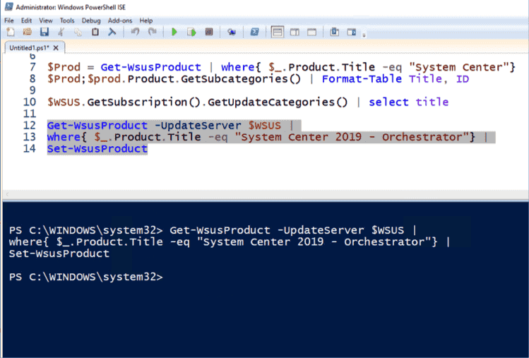 Subscribe to a product in WSUS using Set WsusProduct