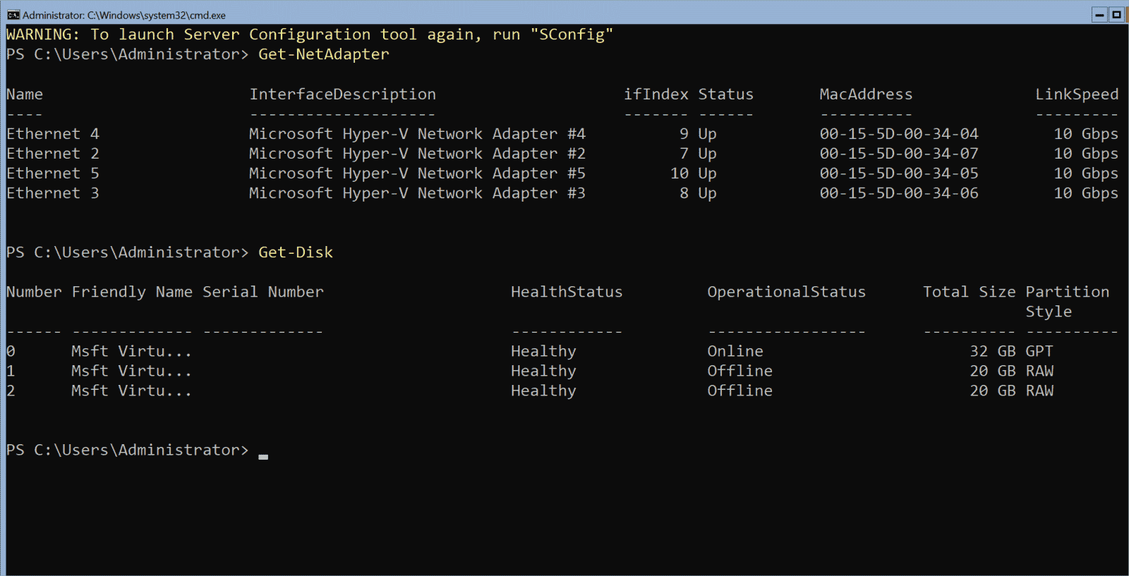 The inside view in the Azure Stack HCI VM on the virtual network adapters and drives