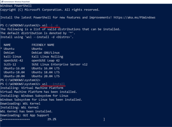The installation of WSL including support for GUI application is now completely handled by wsl.exe