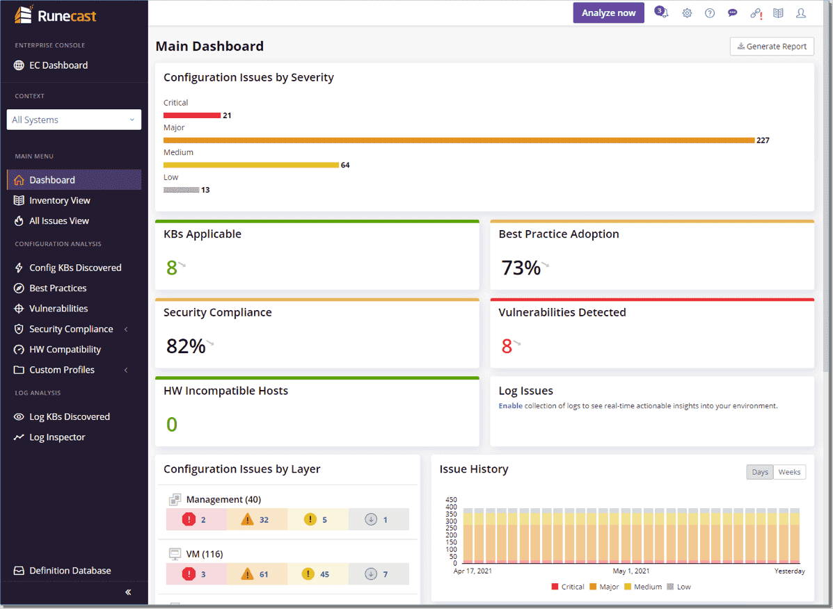 Viewing the Runecast dashboard