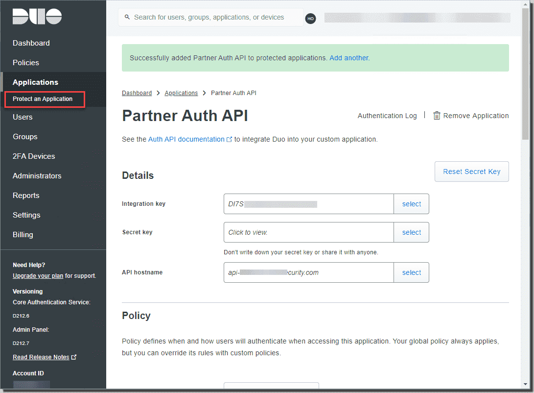 Viewing the integration key secret key and API hostname
