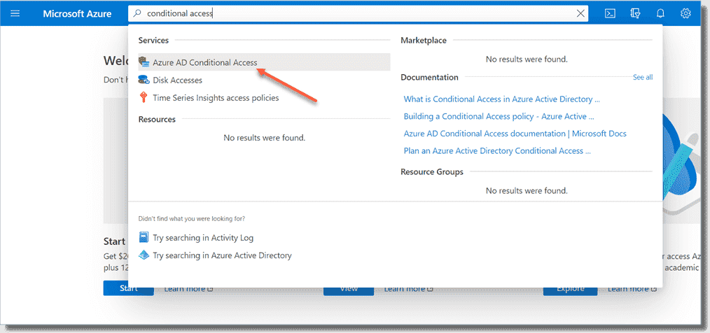 Accessing Conditional Access in the Azure portal