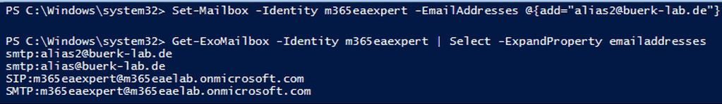 Adding aliases for Exchange Online with PowerShell