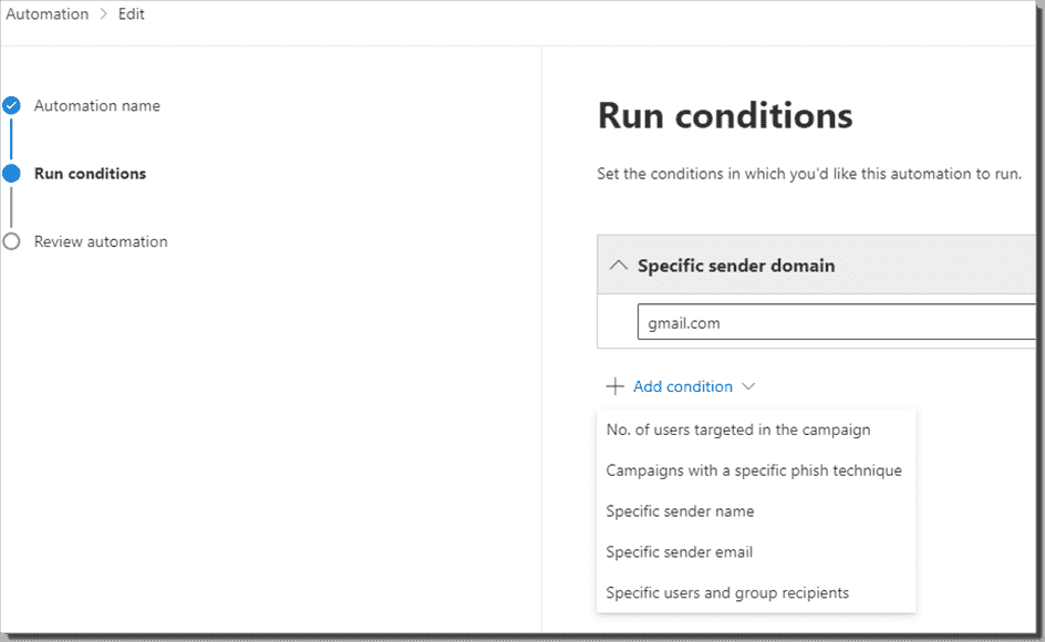 An example of conditional automation and the options available there