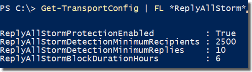 Check whether Reply All Storm Protection is enabled