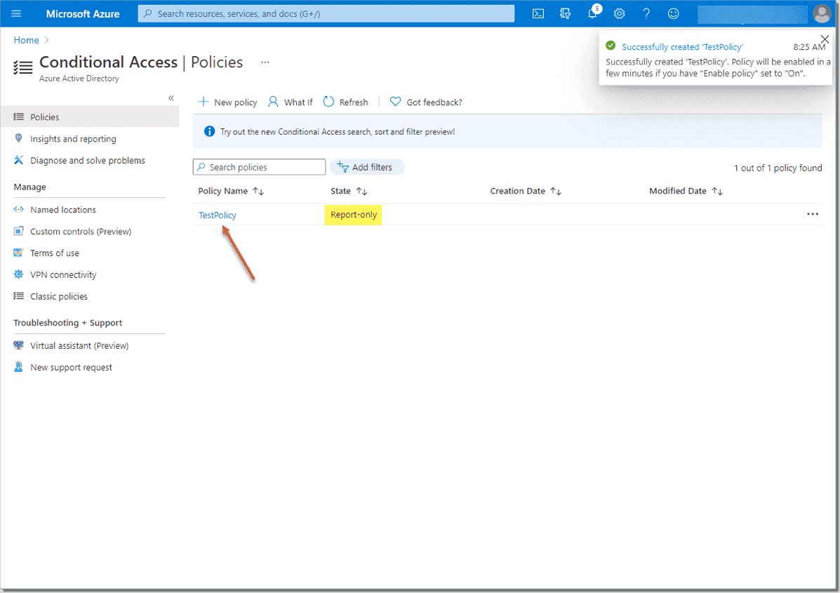 Conditional Access policy successfully created in Report only mode