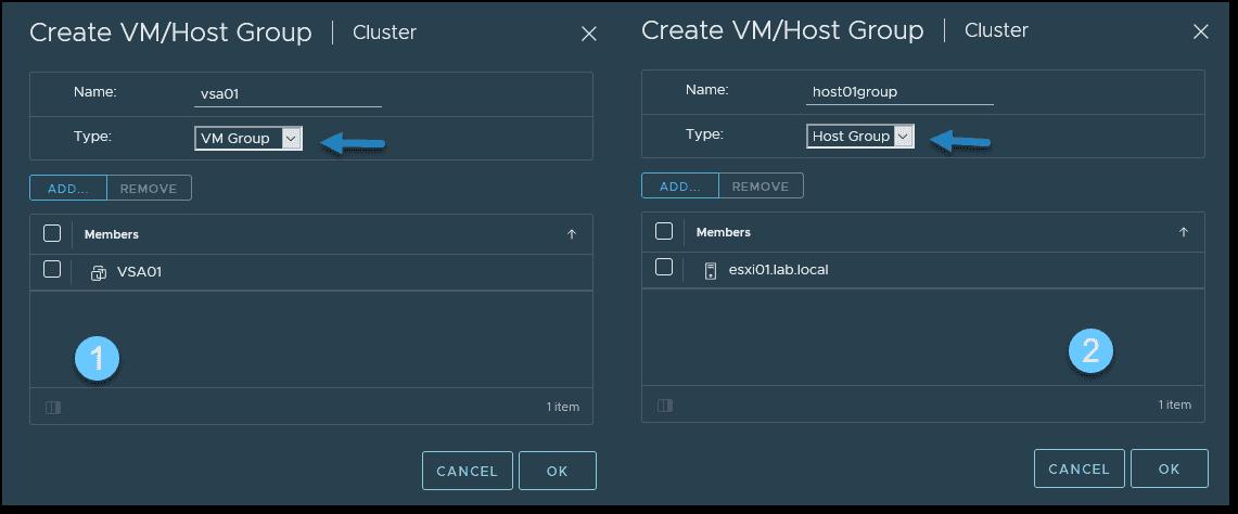 Create a VM group and a host group