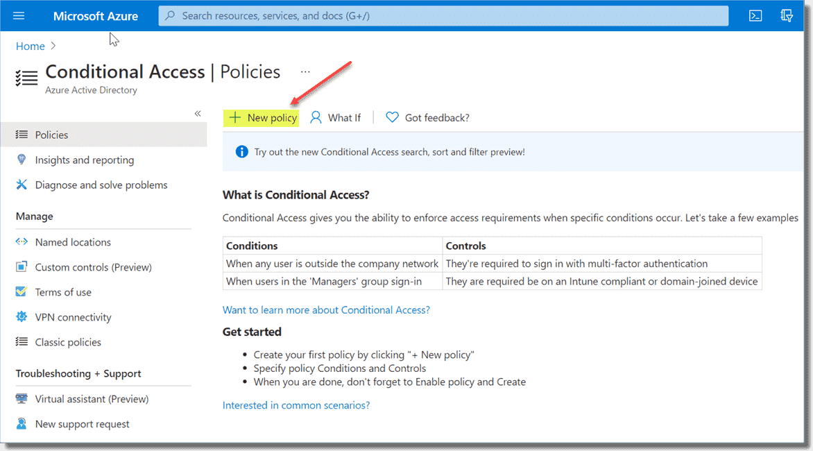 Creating a new Conditional Access policy