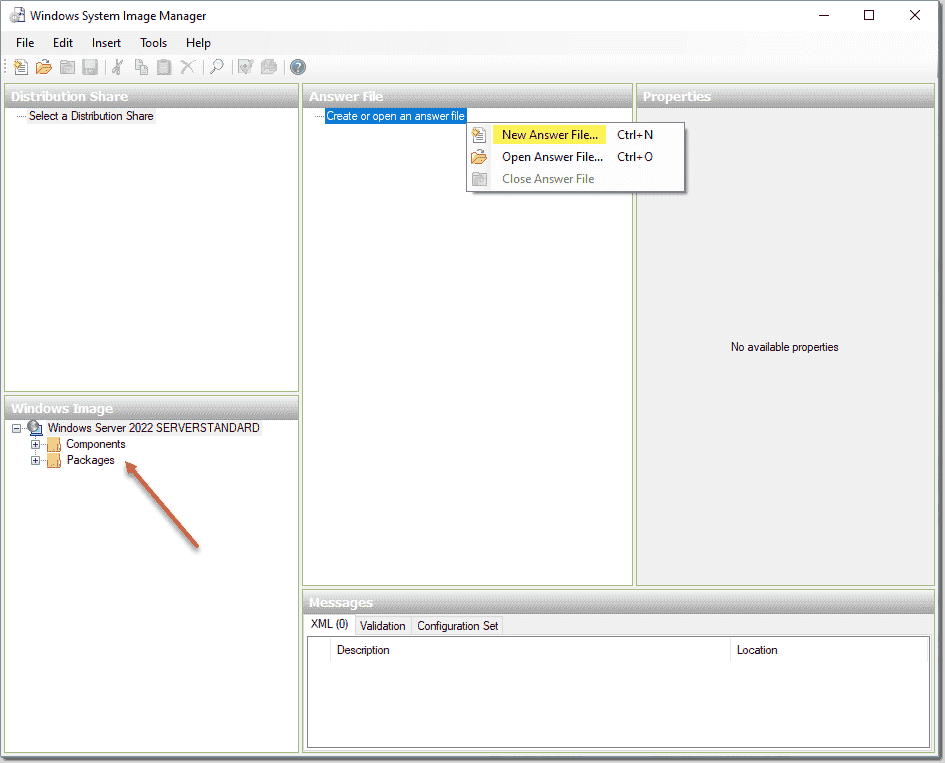 Creating a new answer file after cataloging Windows Server 2022 install.wim_