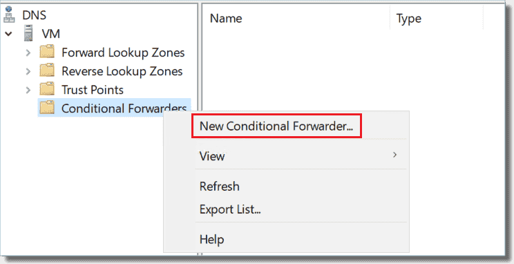 Creating a new conditional forwarder
