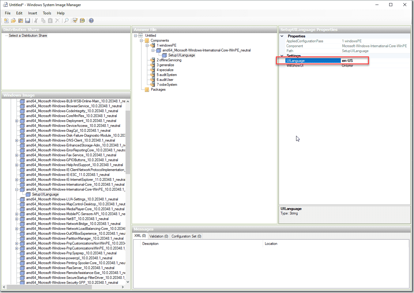 Customizing the components of your answer file in the WSIM for Windows Server 2022