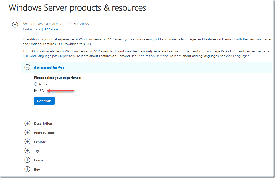 Downloading Windows Server 2022 Preview ISO