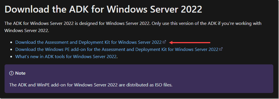Downloading the Windows Assessment and Deployment Kit for Windows Server 2022