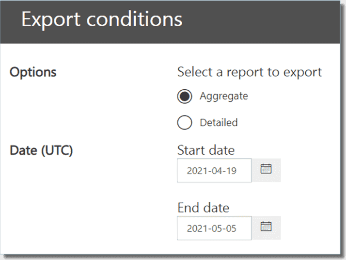 Export conditions