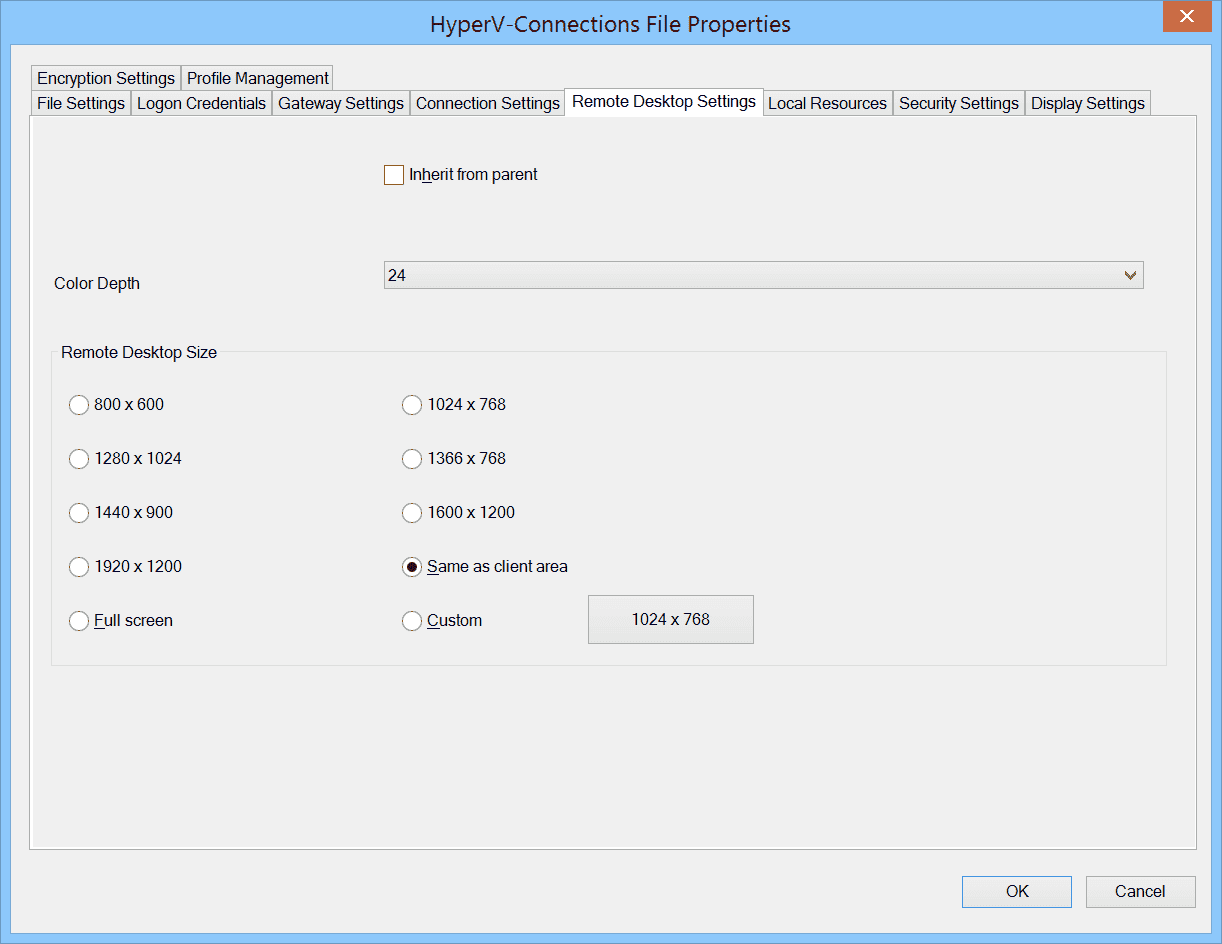 For the resolution fixed values or the size of the RDCMan client window can be specified