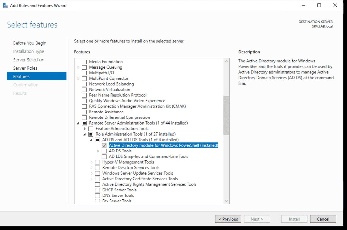 Install AD module on Windows Server 2019 via Server Manager