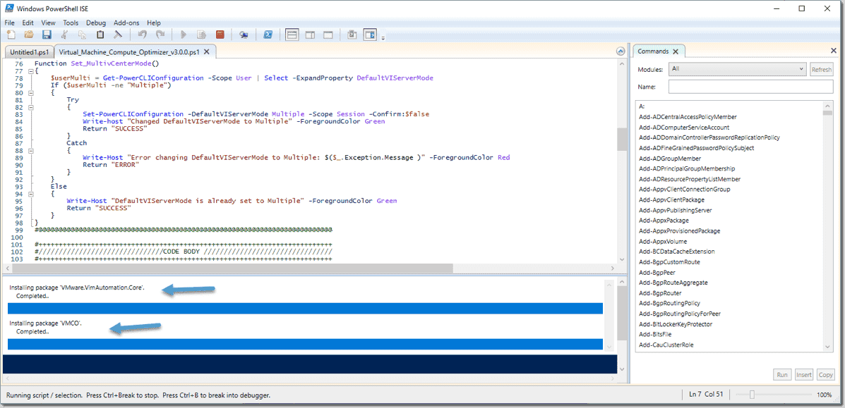 Running the VMCO script for the first time