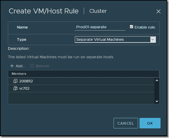 Select at least two VMs and click OK to create the rule