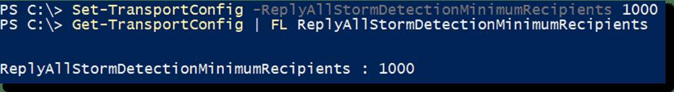 Setting the reply all storm minimum recipients parameter