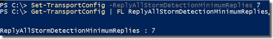 Setting the reply all storm minimum replies parameter
