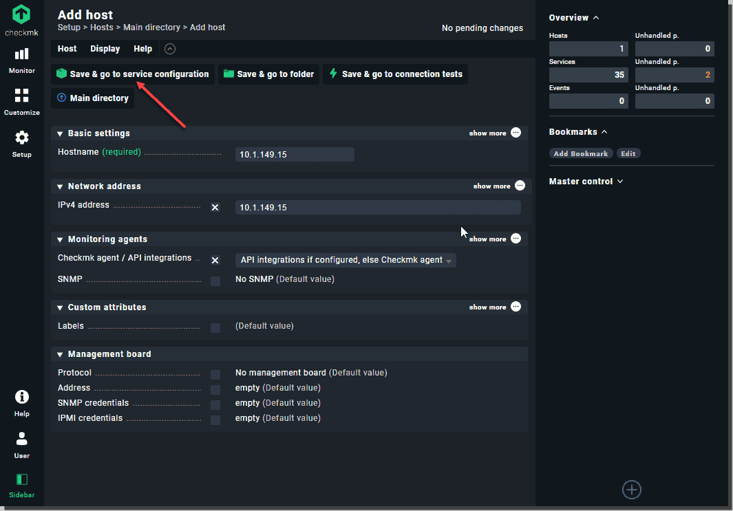 Setting up the host for adding to Checkmk