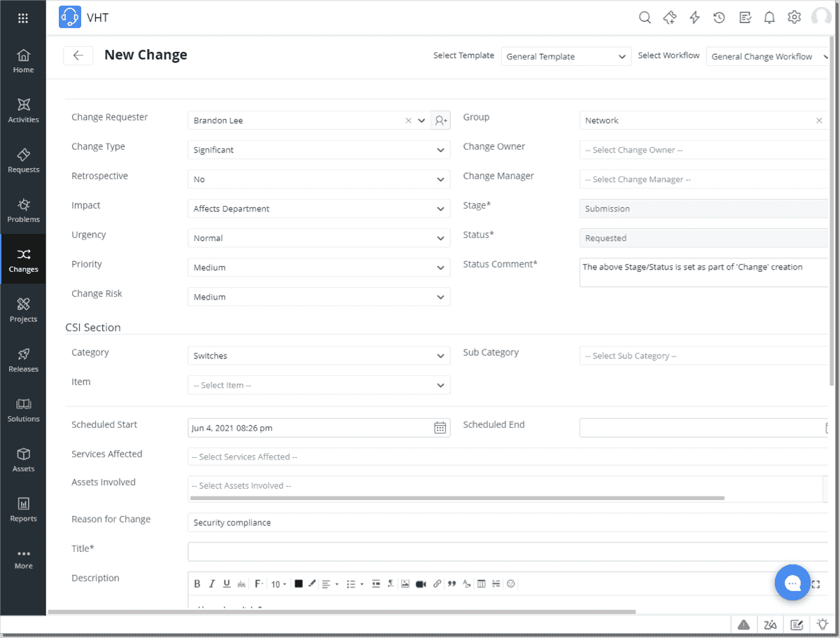 Submitting a new change request