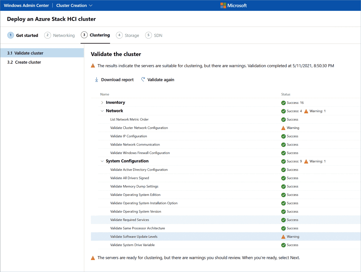 Successful validation of the cluster nodes with some warnings