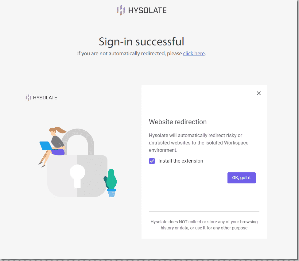 Successfully signed into Hysolate and prompted to install the browser plugin