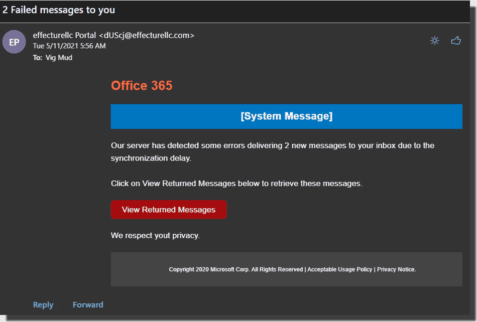 The 2 Failed Messages payload. The user is prompted to check the emails by entering their credentials after clicking the hyperlink.