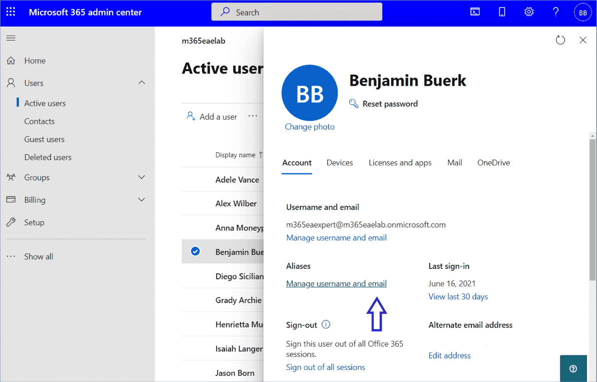 The link to the aliases can be found in the user properties