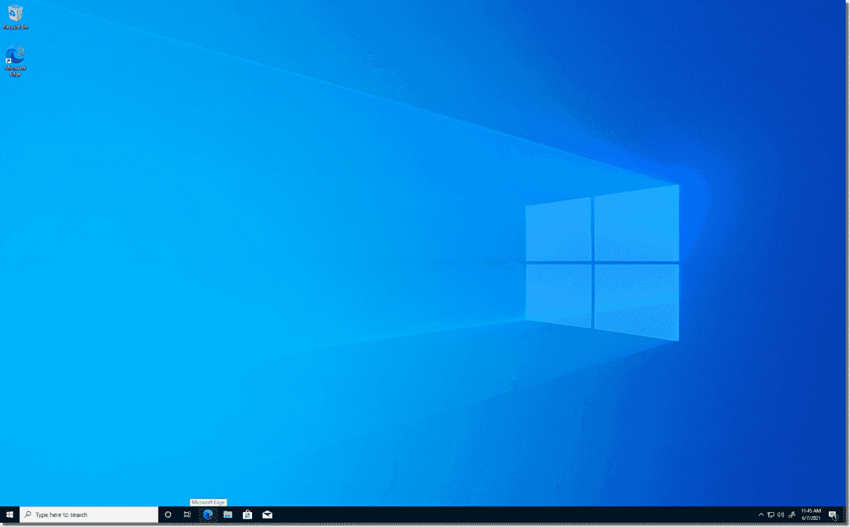 The normal Windows 10 desktop outside of the Hysolate environment