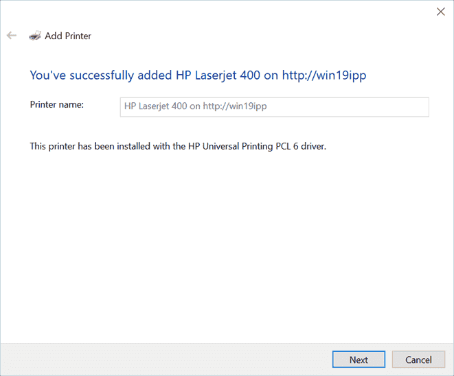 The printer is successfully added on a Windows 10 client by means of Internet Printing