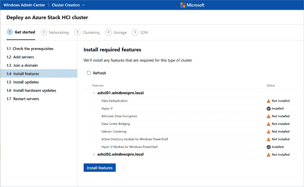 The wizard installs all required roles and features. Hyper V has already been activated here.