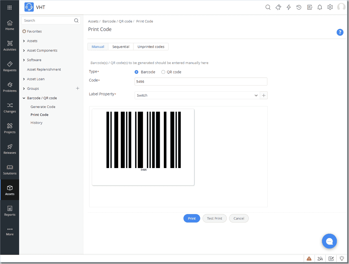 Using ServiceDesk Plus to create and manage barcode labels for inventory