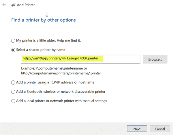 Using the HTTP address for the Internet Printing printer to add this to a Windows 10 client