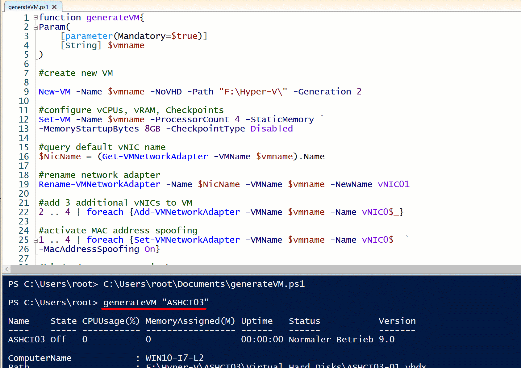 Using the generateVM function to create a new virtual machine