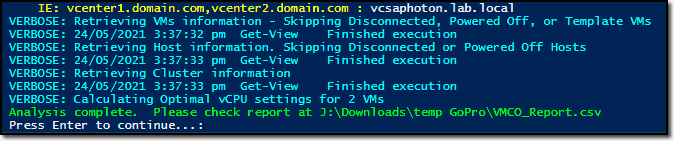 VMCO script has finished its execution
