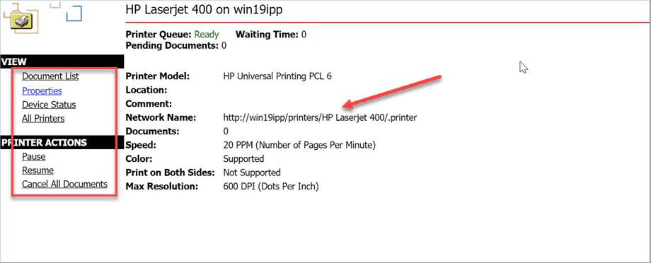 Viewing printer properties using the Internet Printing web site