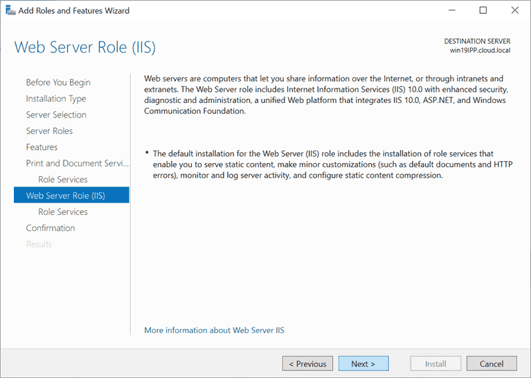 Web server role IIS overview screen