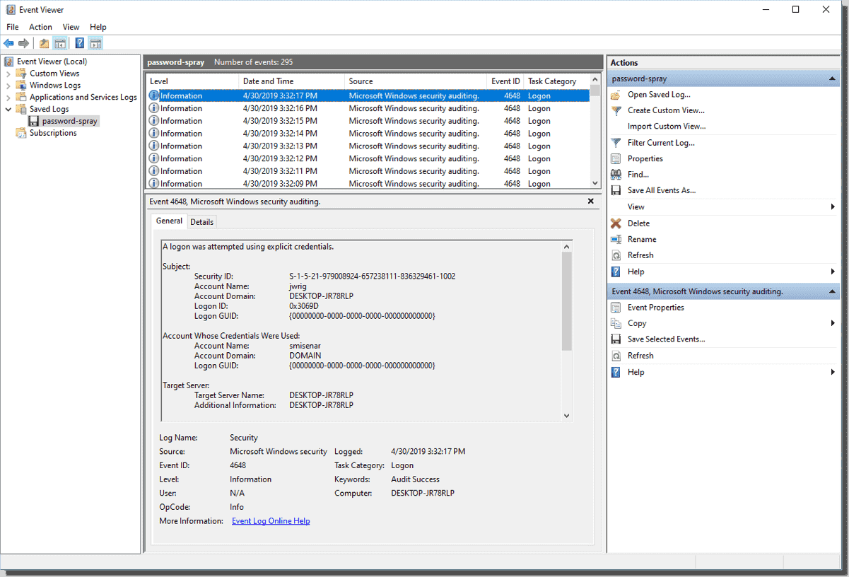 Windows Event Viewer with saved log open