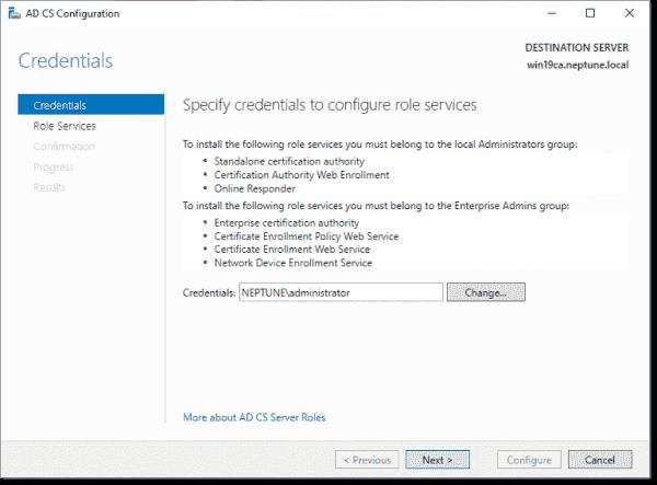 AD CS configuration credential