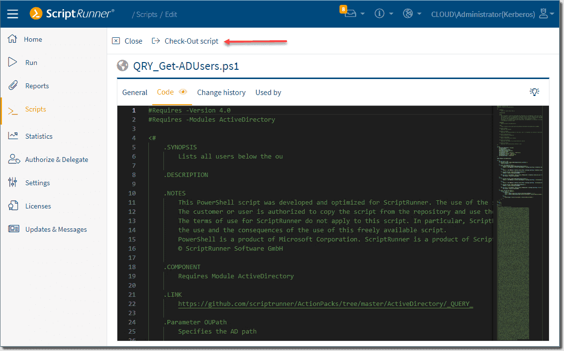 Ability to check out a script for editing in the integrated script editor