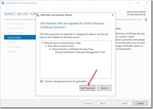 Add features required for AD CS