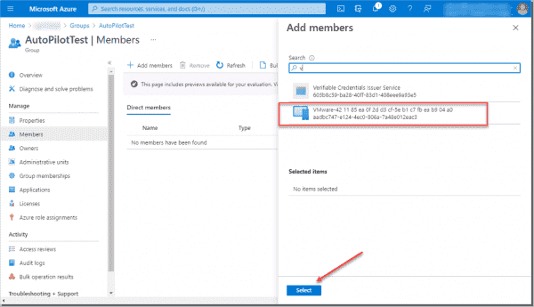 Add the new imported device to your Azure Active Directory Autopilot group